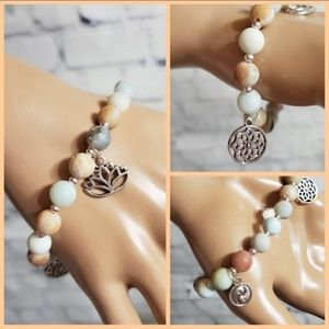 Amazonite Stone Bracelet Yoga / Buddhist Charms